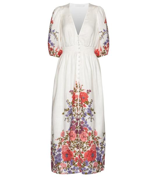Zimmermann Poppy floral linen midi dress in white