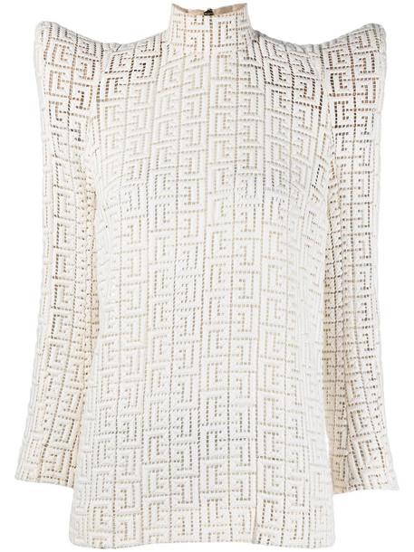 Balmain structured-shoulder motif-print top - Neutrals