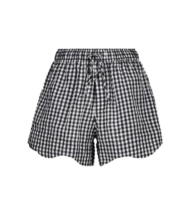 GANNI Checked seersucker shorts in black