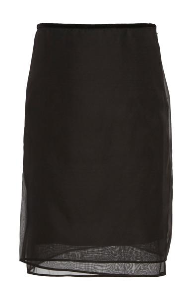 Helmut Lang Layered Organza Skirt in black