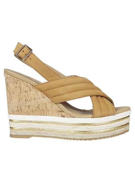 Hogan Cross Strap Wedge Sandals in brown
