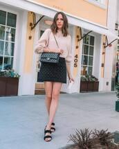 skirt,black skirt,denim skirt,mini skirt,flat sandals,black bag,chanel bag,oversized sweater