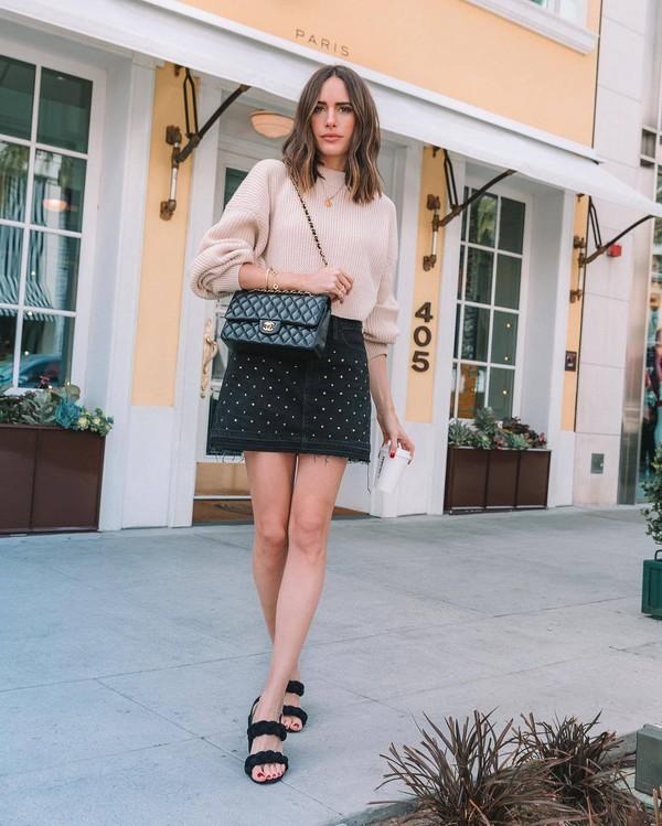 skirt black skirt denim skirt mini skirt flat sandals black bag chanel bag oversized sweater