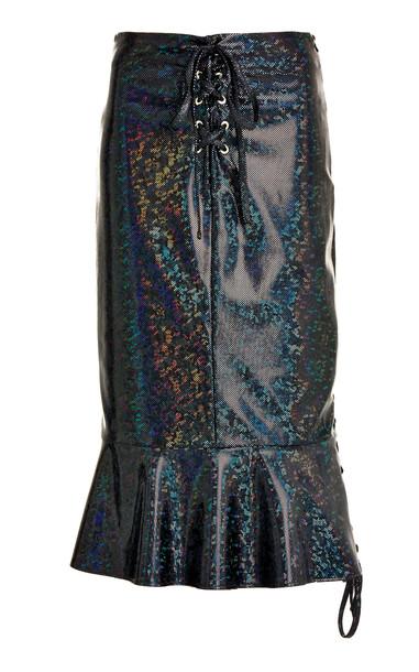 Saks Potts Poison Lace-Up Metallic Stretch Jersey Midi Skirt in black