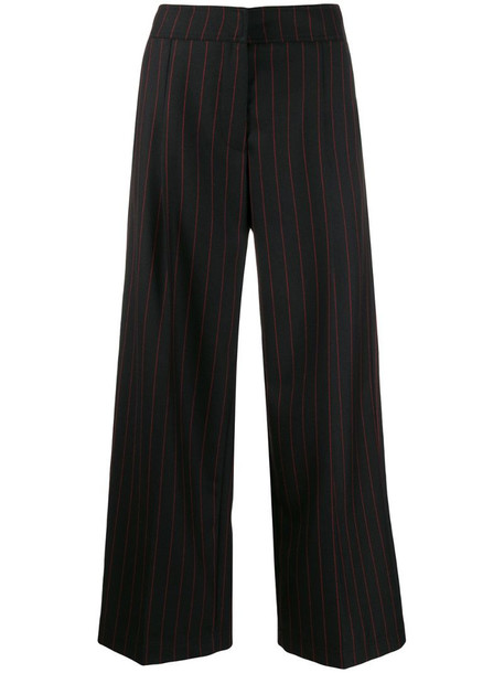 McQ Swallow pinstriped high-waisted trousers in black