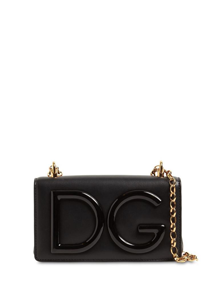 DOLCE & GABBANA Dg Girls Leather Shoulder Bag in black