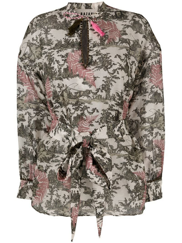 Bazar Deluxe nature-inspired print long-sleeve blouse in neutrals