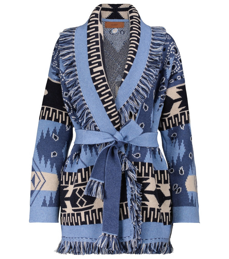 Alanui Dream Big Icon cashmere and wool cardigan in blue