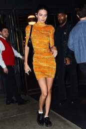 dress,kendall jenner,mini dress,orange,orange dress,celebrity,flats,bodycon dress,kardashians