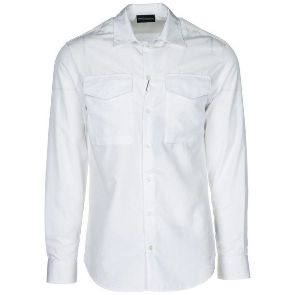 Emporio Armani Men's Long Sleeve Shirt Dress Shirt in bianco