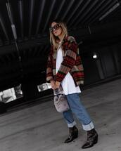 shoes,heel boots,snake skin,ankle boots,denim,jeans,straight jeans,furry bag,plaid,jacket,white t-shirt