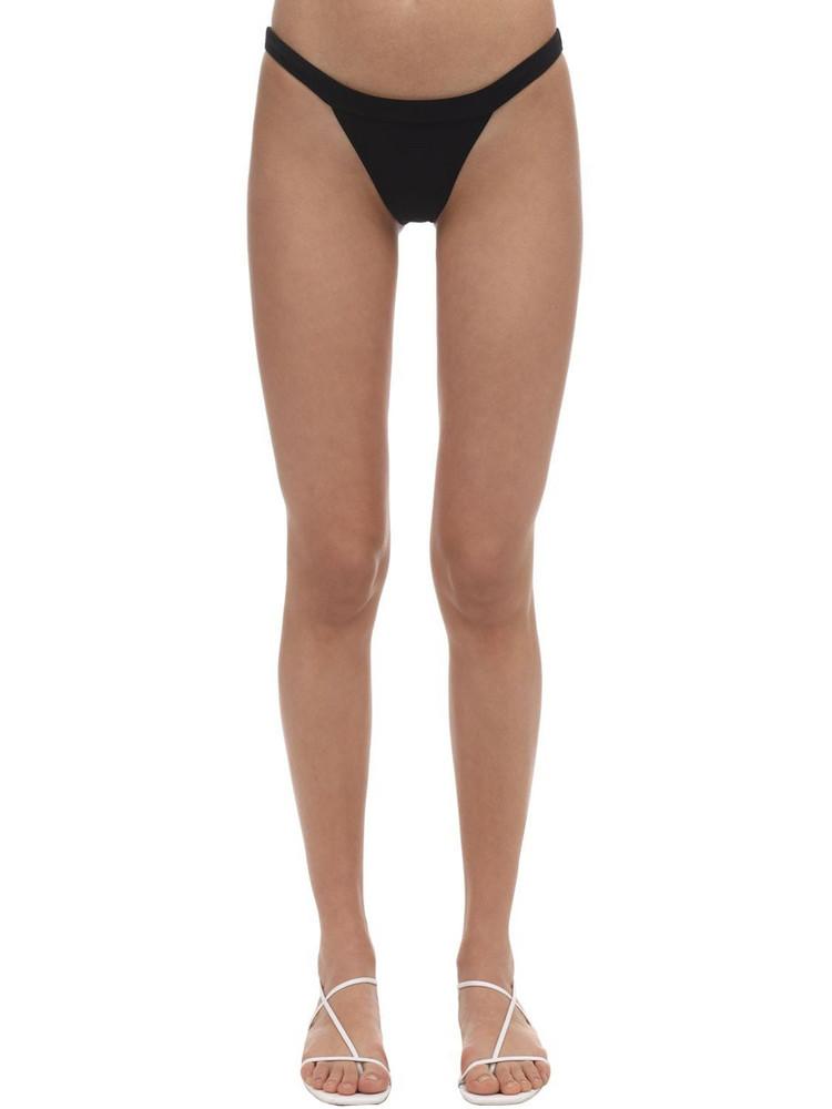 ANEMONE Solid Banded Bikini Bottoms in black