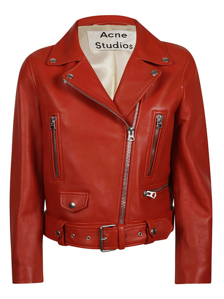 Acne Studios Mock Biker Jacket in red