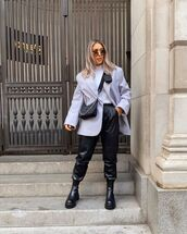 jacket,blazer,asos,black boots,zara,black leather pants,black bag,white t-shirt