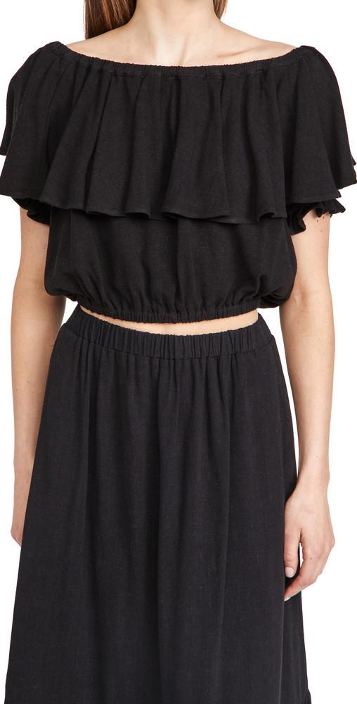Rachel Pally Linen Naomi Top in black