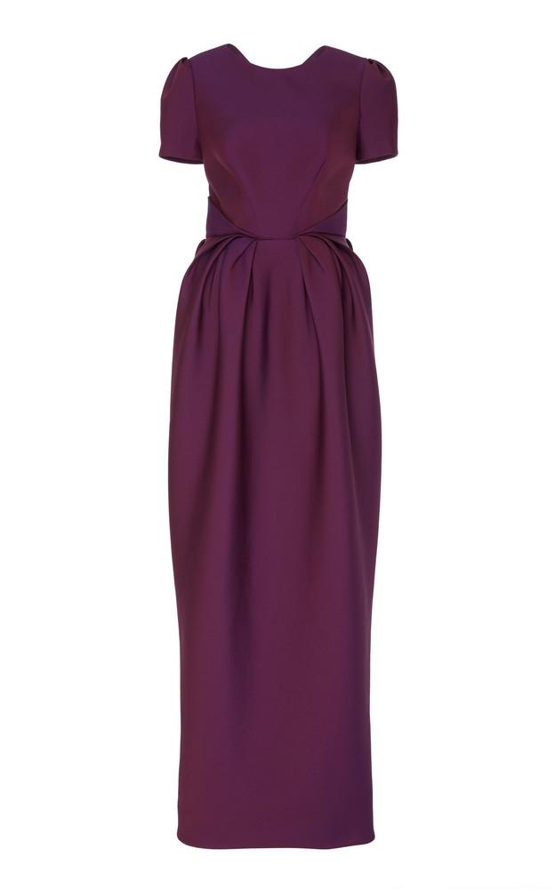 Zac Posen Gauffre Bow Cut Out Taffeta Gown in purple