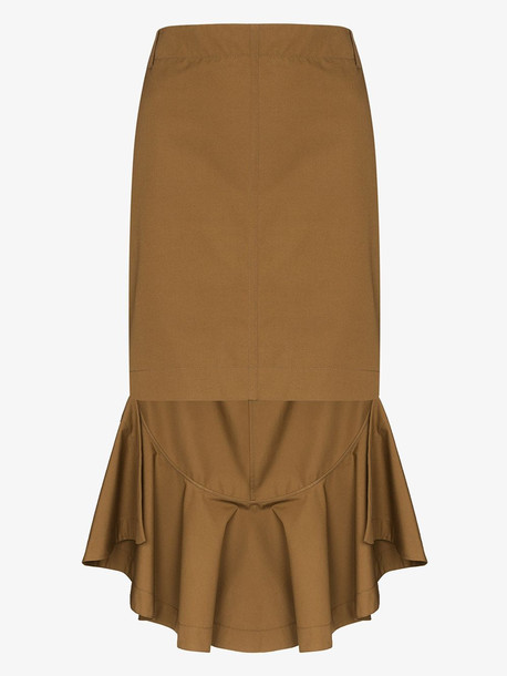 Givenchy Asymmetric ruffle trim skirt in brown