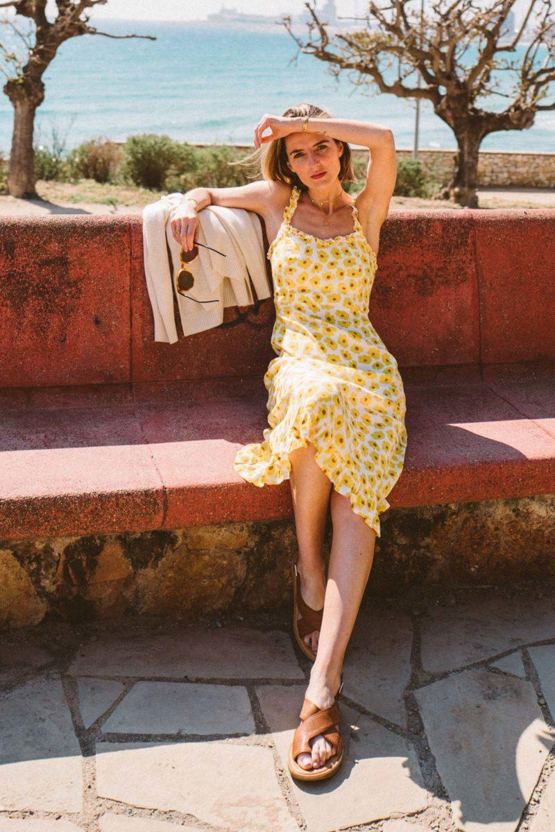 prosecco and plaid blogger shoes dress sweater floral dress yellow dress