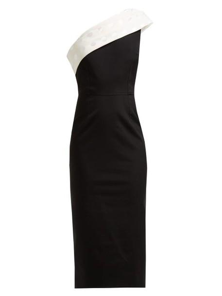 Emilio De La Morena - Tasman Asymmetric Cady Pencil Dress - Womens - Black White
