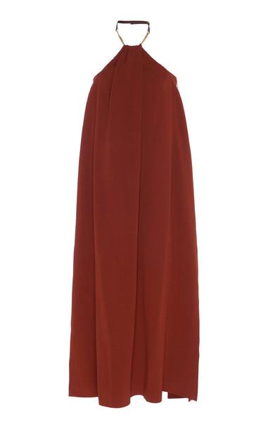 Victoria Beckham Chain-Embellished Crepe Halter Dress Size: 6 in brown