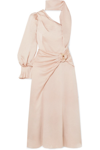 Peter Pilotto - One-sleeve Hammered-satin Midi Dress - Cream