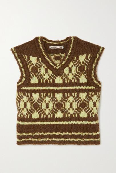 ALEXACHUNG - Jacquard-knit Tank - Brown