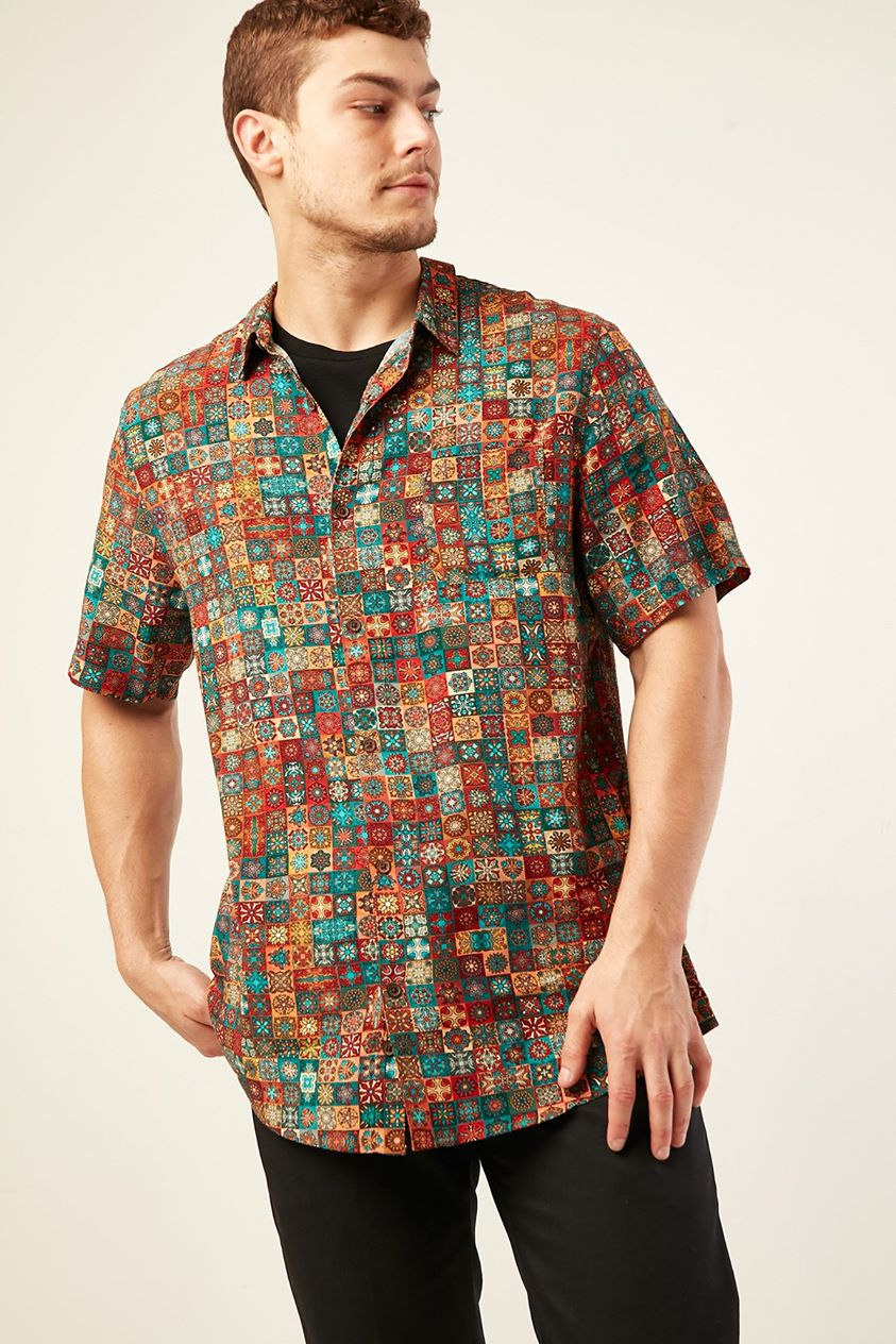 Common Need Remnant Party Shirt Orange/teal/red