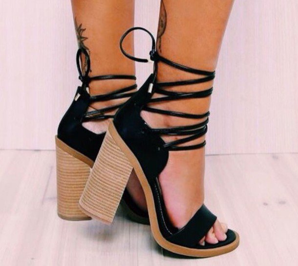 shoes black heels black heels strappy strappy heels sandal heels strappy sandals high heels high heel sandals thick heel black shoes cute