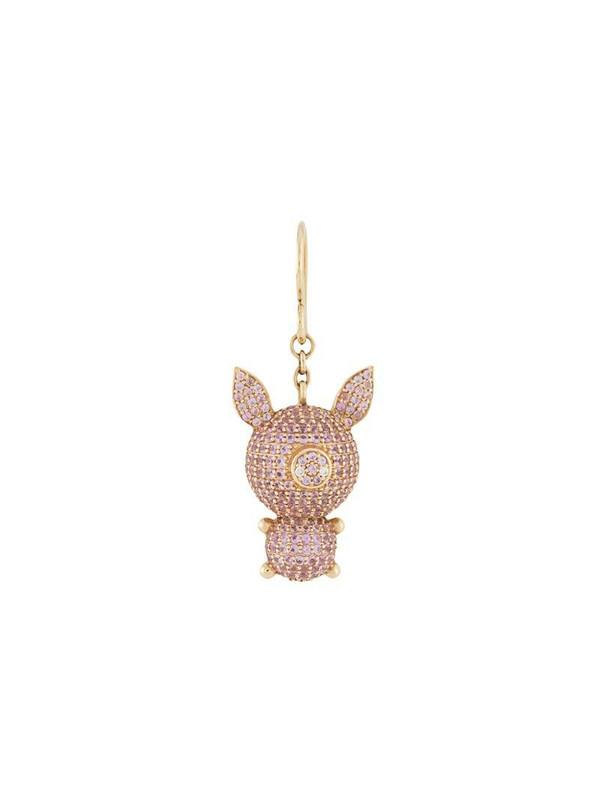 Natasha Zinko 18kt yellow gold, diamond and sapphire Piggy earring