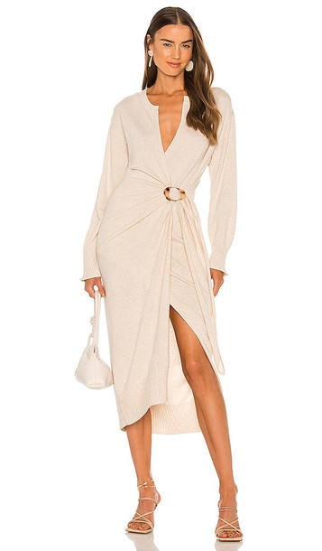 JONATHAN SIMKHAI Evalynn Wool Cashmere Blend Dress in Cream