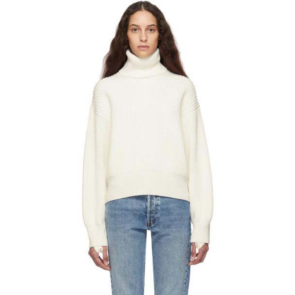 Helmut Lang Off-White Wool & Cotton Turtleneck