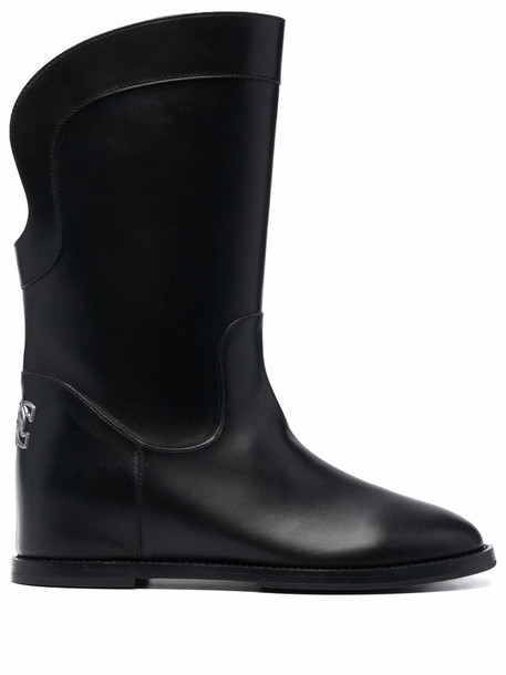 Casadei leather calf-length boots - Black