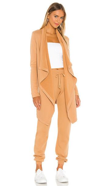 LA Made Aria Essential Cardigan in Tan in camel