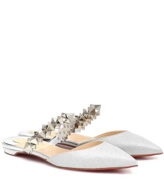 Christian Louboutin Planet Choc metallic leather slippers in silver