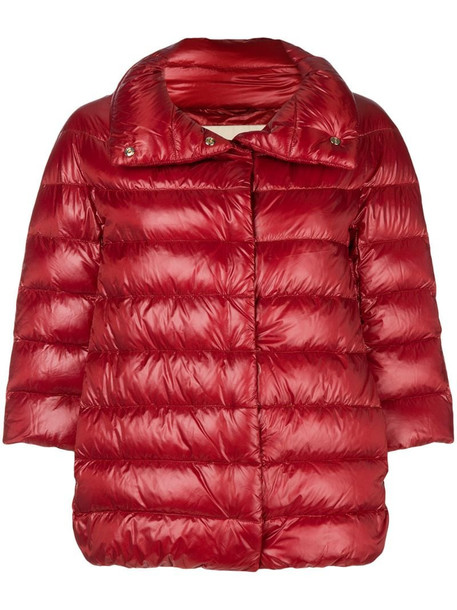 Herno feather down puffer jacket in red