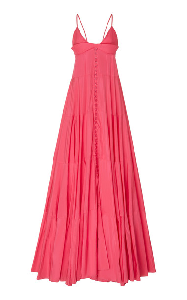 Jacquemus La Robe Manosque Tiered Chiffon Maxi Dress Size: 34 in pink