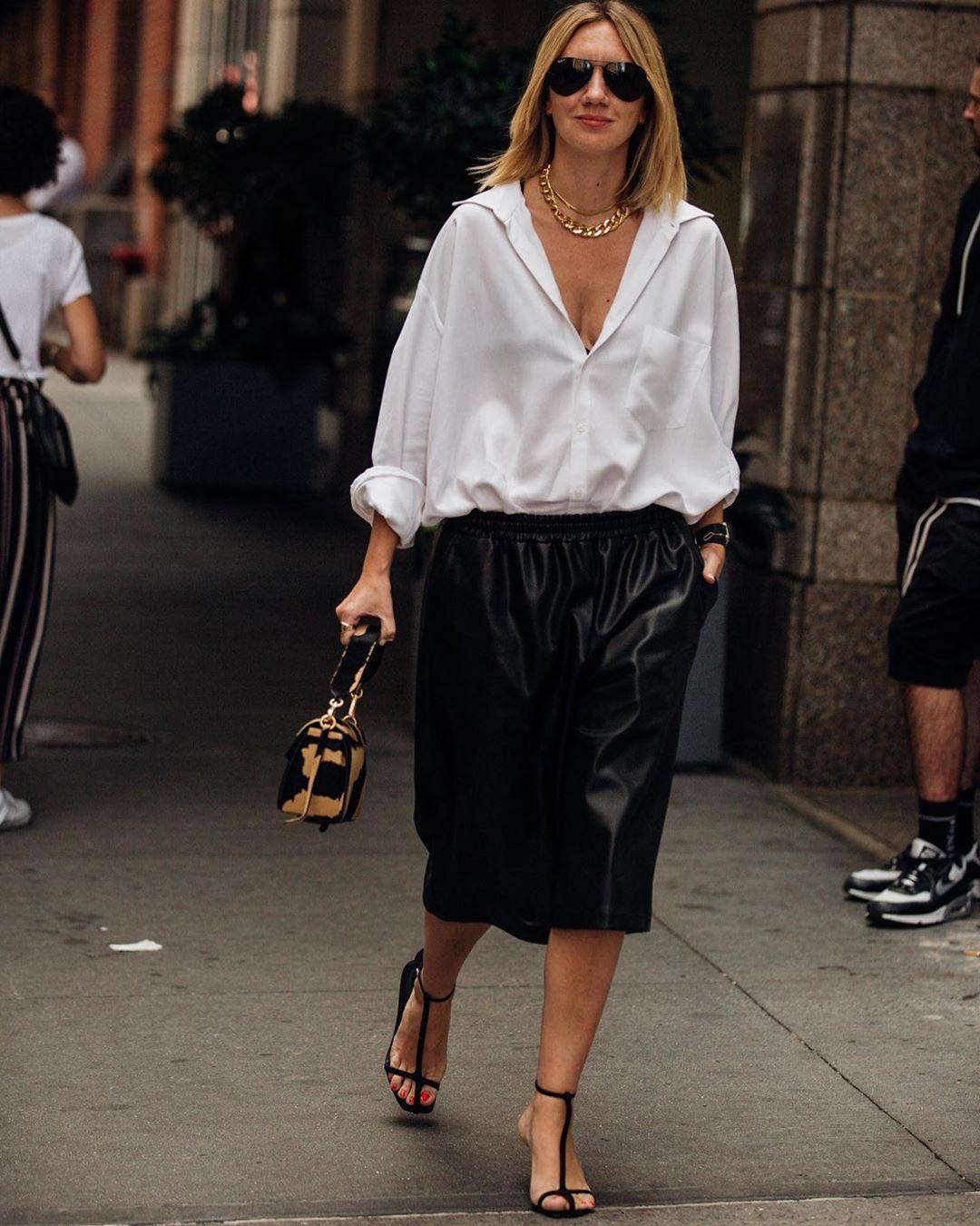 shorts black shorts black leather black sandals bag white shirt