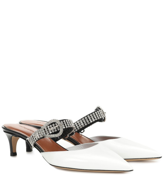 Self-Portrait Eliza crystal-embellished leather mules in white