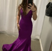 dress,bright,purple,prom dress,mermaid prom dress,tight