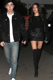 skirt,all black everything,madison beer,mini skirt,date outfit,leather skirt,zipped skirt,sweater,celebrity