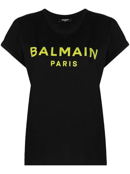 Balmain logo-print T-shirt in black