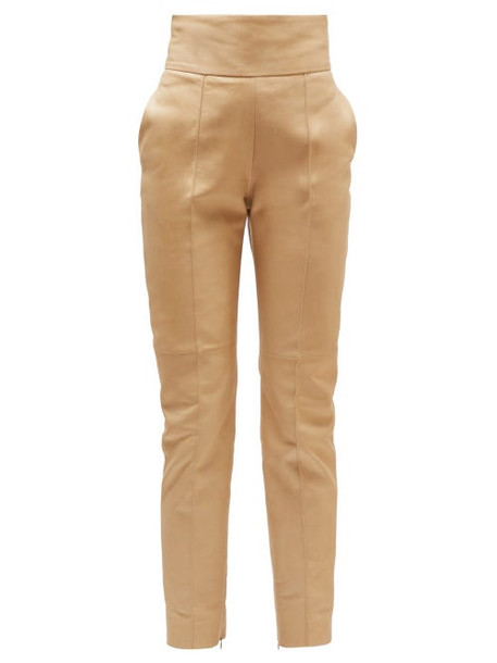 Alexandre Vauthier - High Rise Leather Trousers - Womens - Beige