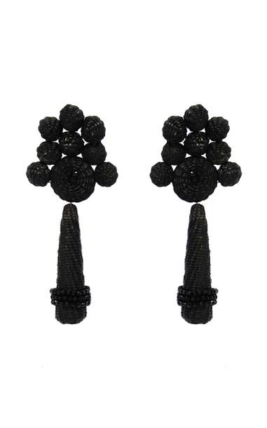 Johanna Ortiz Flowery Prose Iraca Drop Earring in black