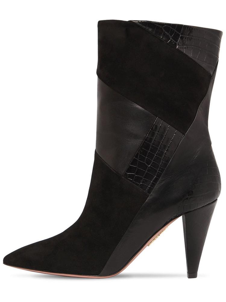 AQUAZZURA 85mm Calder Leather & Suede Boots in black