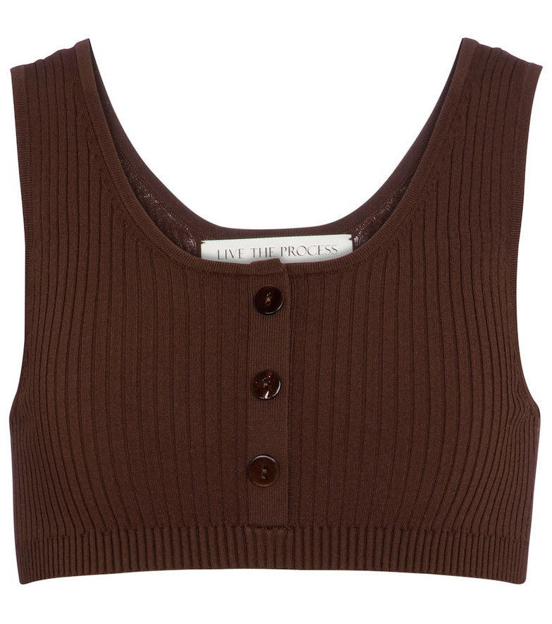 Live The Process Henley ribbed-knit bralette in brown