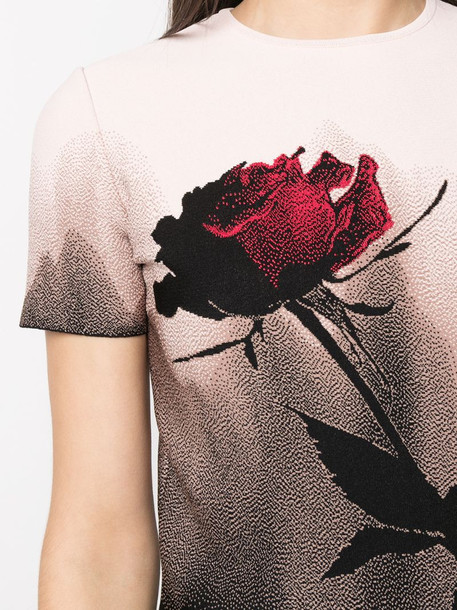 Alexander McQueen rose print cropped T-shirt in pink