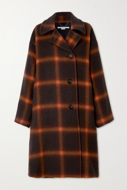 Stella McCartney - Oversized Checked Wool Coat - Brown