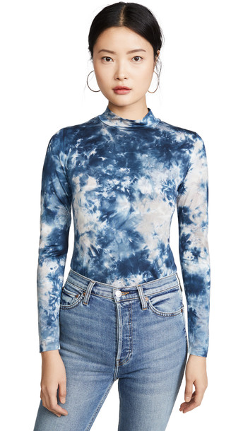 Young Fabulous & Broke Mock Neck Tie Dye Top in midnight