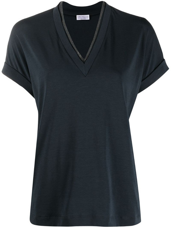 Brunello Cucinelli short-sleeve fitted blouse in blue