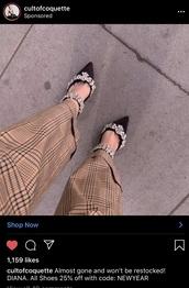 pants,plaid pants,plaid,dressy pants,straight leg pants,instagram baddie,cute outfits,wide-leg pants,brown,brown pants,instagram,fashion,celebrity style,heels